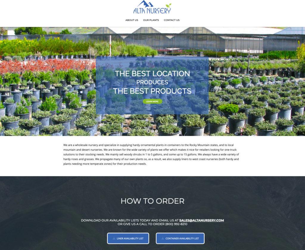Alta Nursery website